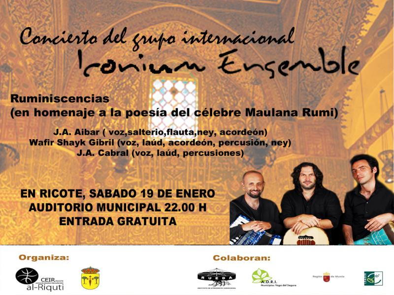 Cartel del Concierto del grupo Iconium Ensemble. Ruminiscencias. 19 enero 2013, 22:00, Auditorio de Ricote.
